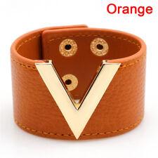 Wide V Leather Bracelet Bangle Punk Cuff Bracelet Wrap Wristband'Fashion JewelGV