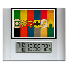 The Justice League Batman Flash Digital Wall Desk Clock with temperature + alarm