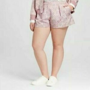 Victoria Beckham Target Pink Blush Floral Pleated Jacquard Shorts Plus 22W New