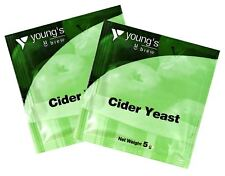 YOUNG'S 2 x Cider Yeast - 5g Sachet Treats 23L / 5 Gallons - Home Brewing Making
