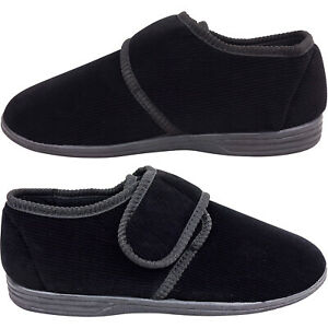 Mens Gents ORTHAPEDIC Easy Close Slippers Shoe New Indoor Outdoor Corduroy size