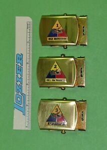 Lot 3 Army Armored Div. Brass Buckles - Dealer Collector new old stock -USA Made