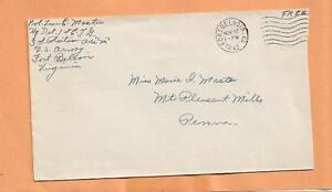 WW II U.S MILITARY COVER FORT BELVOIR VA 1942 FREE CANCEL