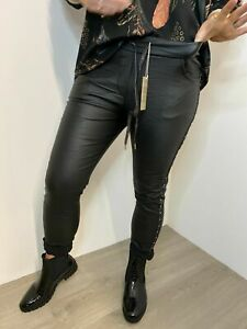 Magic Pants  Faux Leather Black Stretchy Sparkly Crystals Black Leather Look