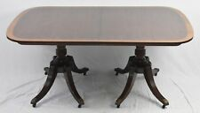 Baker Regency Banded Mahogany Dining Table Williamsburg Style with 3 leaves