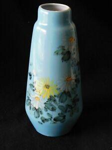 Vintage Retro blue ceramic Vase with hand painted flowers