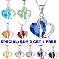 Fashion Women Heart Crystal Rhinestone 925 Silver Chain Pendant Necklace black