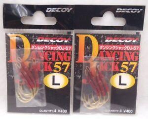 2pks Decoy Jigging Single Dancing Jack 57 fishing jig hooks Size L 4pc/pk