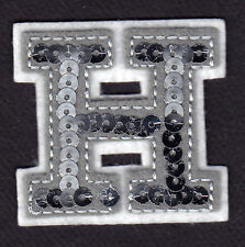 """LETTERS  - Silver  Sequin  2"""" Letter """"H"""" - Iron On Embroidered Applique"""