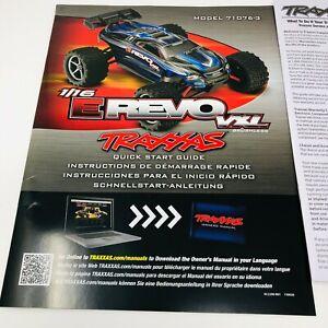 Traxxas E-Revo 1/16 VXL Model 71076-3 Quick Start Guide Manual Pack New