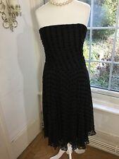 Hobbs Silk Mix Black Bardot Style Dress Felt Spots Size 14