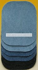 Small Iron On Jeans Denim Repair Patches Pack of 6  Light Blue Dark Blue Black