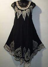 Dress Fits XL 1X 2X Plus Sundress Black White Batik Long Tunic A Shaped NWT 2621