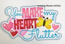 Heart Flutter Valentine paper piecing title premade scrapbook Rhonda rm613art
