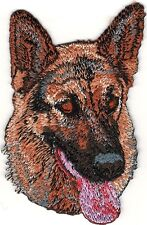 """2"""" x 3 1/8"""" Panting German Shepherd Dog Portrait Breed Embroidered Patch"""