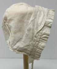 Vintage Antique Doll Off White Cotton Bonnet Hat