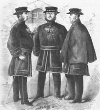 LONDON. Yeomen of guard, Tower, their new costume, antique print, 1858