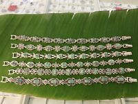 "925 Sterling Silver ""Real Genuine EMERALD & Marcasite"" ANTIQUE Bracelet -WOMEN"