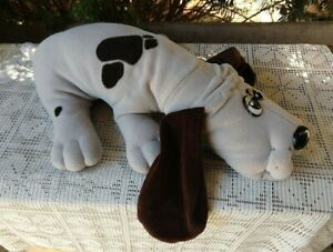 """Pound Puppy vintage plush dog toy gray with black spots and ears 17"""""""