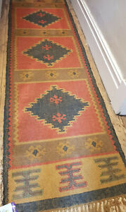 Wool with Jute Kilim rug 60x245cm Quality Hand Made runner Rose, Dark Grey,Ochre