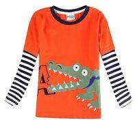 Boys Long Sleeve Crocodile Top Age 18 24 2 3 4 5 Yrs Kids Stripey TShirt Clothes