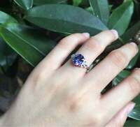 3Ct Oval Cut Blue Tanzanite Diamond Solitaire Engagement Ring 14K White Gold FN