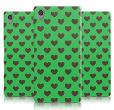 DYEFOR LOVE HEARTS ON GREEN PHONE CASE COVER FOR SONY XPERIA