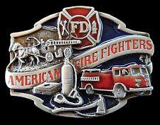 BELT BUCKLE AMERICAN FIREFIGHTER FD HORSE FIRE TRUCK POMPIER BOUCLE DE CEINTURE