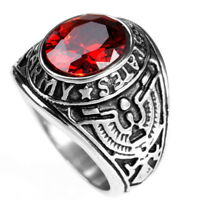 Stainless Steel Men's Red Ruby Stone Eagle Ring Never Tarnish M21