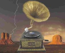 Mechanische Musik Grammophone Grammophon Graviert Ziseliert Rund Metallic Silber Optik Geschenk Dekoration