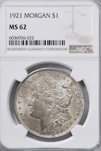 1921 $1 Morgan Silver One Dollar New Orleans NGC MS62 Uncirculated