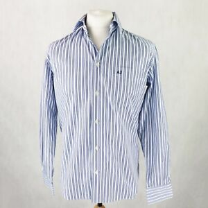Mens ARMANI Long sleeve Button-up Shirt Size LARGE Regular fit white blue stripe