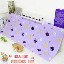 Summer Beach Towel Cartoon Sailor Moon Cat Luna And Moon Purple Large Bath Towel