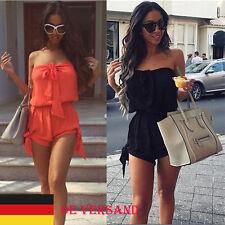 Damen Mini Schulterfrei Party Overall Minikleid Strandhose Jumpsuit Plus Size