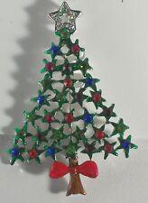 "Christmas Tree Pin Brooch Pendant 3""Stars and Bow on Bottom Enamel & Crystal"
