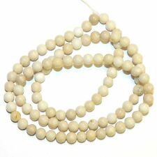 GR516f Natural Creamy White 4mm Round Riverstone Coral Fossil Gemstone Beads 16""