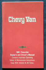 Owner's Manual * Betriebsanleitung 1981 Chevrolet Chevy Van (USA)