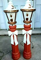 Vintage Blow Mold Lamp Posts With Bows Seasons Greetings Christmas 42""