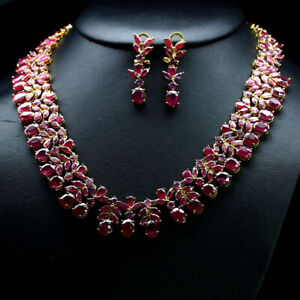 "NATURAL SET RED WITH PINK RUBY NECKLACE 19"" & EARRINGS 925 STERLING SILVER"