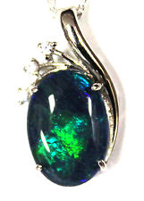Natural Black Triplet Opal Pendant 925 Solid Sterling Silver Cubic Zirconia