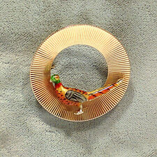 Enameled Pheasant Brooch / Pin Solid 14K Yellow Gold &