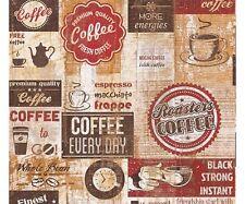 Carta da Parati per cucina   Caffè Vintage Red di alta qualità effetto legno