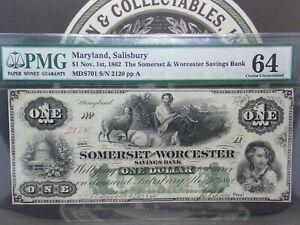 1862 $1 Maryland SALISBURY Somerset & Worcester Note Obsolete PMG 64 EPQ GEM #MB