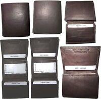 lot of 6 men's genuine leather trifold wallet brown men's billfold wallet bnwt