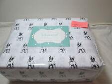 New Whimsical Hotel Collection Bulldog Print King Sheet Set ~ Black and White NI