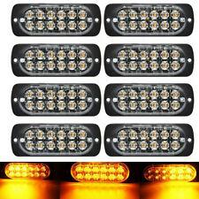 8Pcs 12 LED Car Strobe Light Bar Van Truck Beacon Flash Warning Emergency Amber