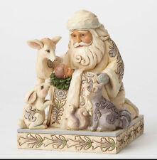 Jim Shore White Woodland Santa w/Baby Jesus Figurine ~ 4053687