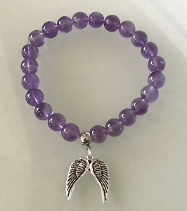 Protection Anxiety Stress Relief Guardian Angel Wing Amethyst Crystal Bracelet