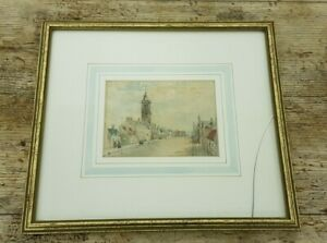 Framed Antique 1890 Signed PB Victorian Street View Watercolour Painting