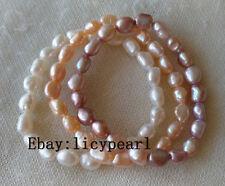 3pcs 8-9mm weiß rosa & Lavendel barocke Perle Stretch-Armbänder